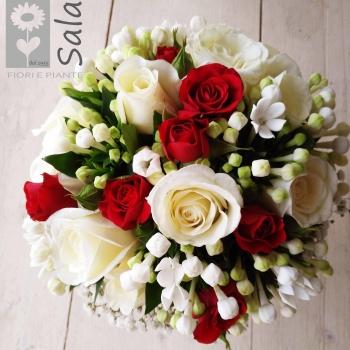bouquet bianco e rosso
